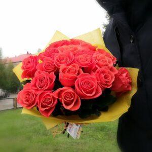 21 оранжевая роза 50 см