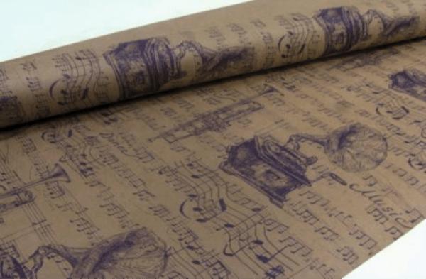 Бумага крафт Музыка фиолетово-коричневая