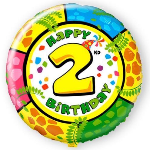 Фольгированный шар Happy Birthday (2 года)