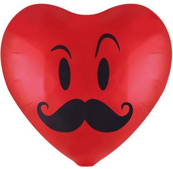 Фольгированный шар Сердце с усами