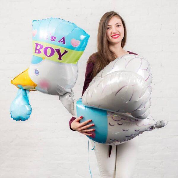 Фольгированный шар на выписку Аист Boy
